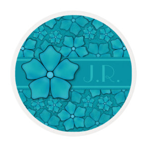 Blue green floral design Monogram Initials Edible Frosting Rounds