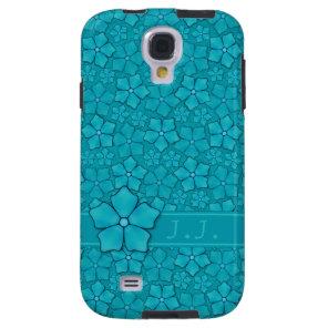 Blue-green floral design Monogram Initials Galaxy S4 Case