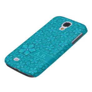 Blue-green floral design Monogram Initials Galaxy S4 Cover