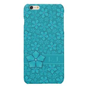 Blue green floral design Monogram Initials Glossy iPhone 6 Plus Case
