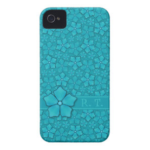 Blue-green floral design Monogram Initials iPhone 4 Case-Mate Case