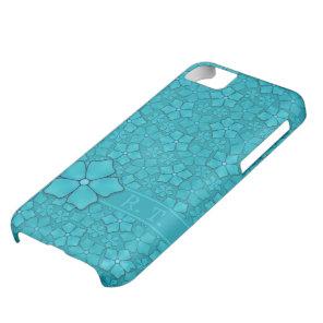 Blue-green floral design Monogram Initials iPhone 5C Case