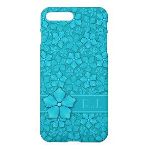 Blue green floral design Monogram Initials iPhone 8 Plus/7 Plus Case