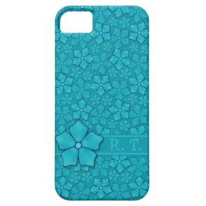 Blue-green floral design Monogram Initials iPhone SE/5/5s Case