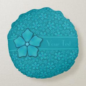Blue green floral design Monogram Initials Round Pillow