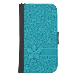 Blue green floral design Monogram Initials Samsung S4 Wallet Case