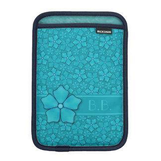 Blue green floral design Monogram Initials Sleeve For iPad Mini