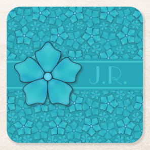 Blue green floral design Monogram Initials Square Paper Coaster