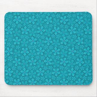 Blue-green floral design mouse pad