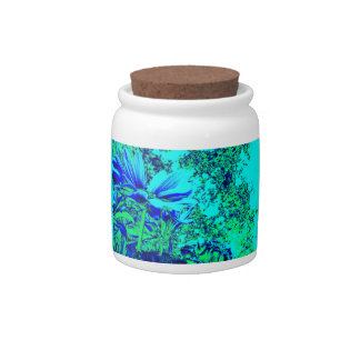 Blue Green Floral Experience Goody Jar Candy Dishes