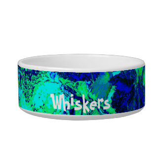 Blue Green Floral Experience Personalized Pet Bowl