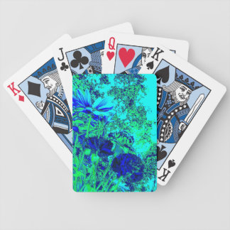 Blue Green Floral Experience Playing Cards