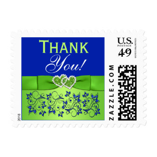 Blue, Green Floral, Hearts Thank You Postage