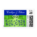 Blue, Green Floral, Hearts Wedding Postage