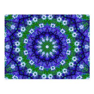 Blue Green Floral Kaleidoscope Mandala Postcard