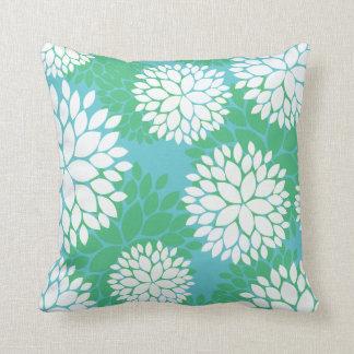 Blue Green Floral Pattern Pillows
