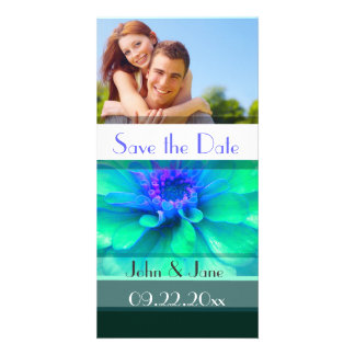 "Blue/Green Floral  /photo  ""Save the Date"" Card"
