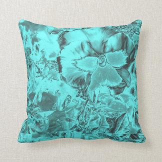 Blue Green Floral  Print American MoJo Pillow