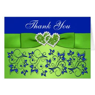 Blue, Green Floral Wedding Thank You Card 3