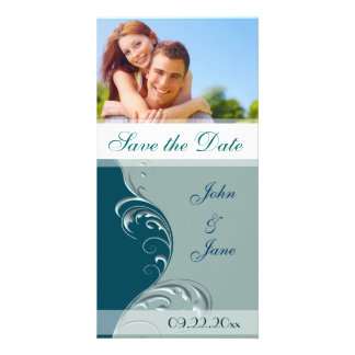 """Blue/Green  Flourish /photo """"Save the Date"""" Picture Card"""