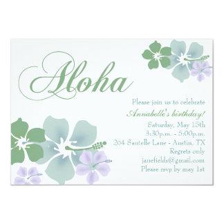 Blue & Green Flower Aloha Birthday Invitation