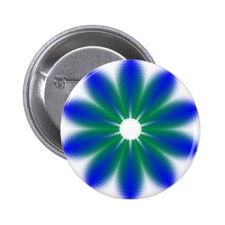 Blue Green Flower Fractal Geometric Button