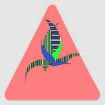 Blue-green flower on red triangle sticker