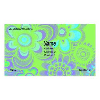 BLUE & GREEN FLOWER POWER BUSINESS CARDS