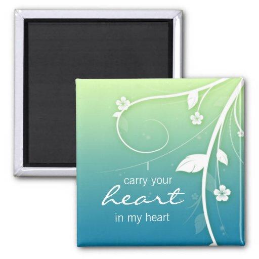 Blue green Flower Swirls fridge magnet