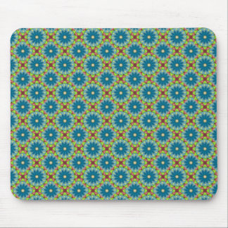 Blue Green Flowered Pattern Mouse Pad