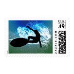 Blue & Green Foam Surfing Postage Stamp