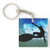 Blue & Green Foam Surfing Square Acrylic Keychains