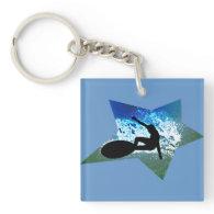 Blue & Green Foam Surfing Star Acrylic Key Chains