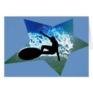 Blue & Green Foam Surfing Star Card