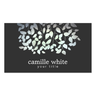Blue Green Foil Look Whimsical Leaves Black Business Card