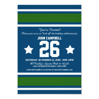 Blue Green Football Jersey Stripes Card