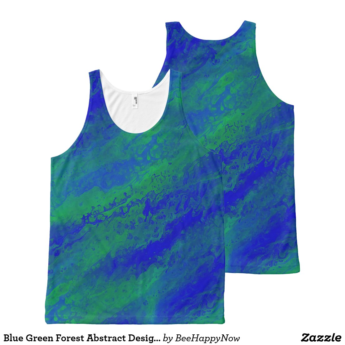 Blue Green Forest Abstract Designed Tank Top