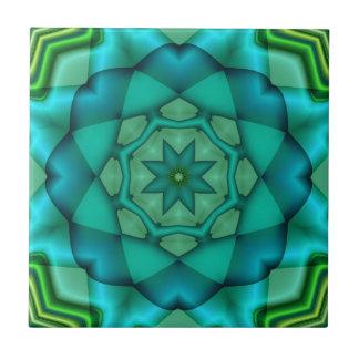 Blue Green Fractal Art Ceramic Tile