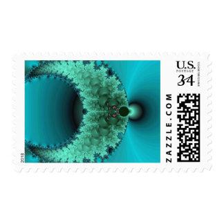Blue Green Fractal Art Postage