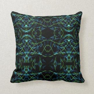 Blue Green Fractal Face Throw Pillow