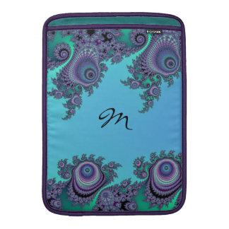Blue Green Fractal Flourish Monogram Cases Sleeve For MacBook Air