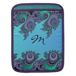 Blue Green Fractal Flourish Monogram Cases Sleeve For iPads