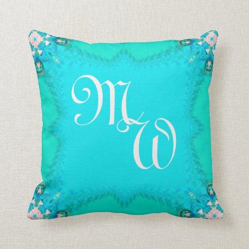 Blue Green Fractal Lace Monograms Cushion Pillow