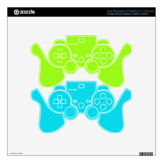 Blue & Green Gaming Controller Skins PS3 Controller Decals