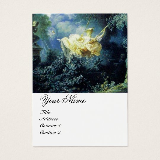 Blue Green Garden Yellow Rococo Lady on Swing Business Card
