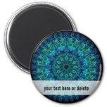 Blue Green Gems kaleidoscope 2 Inch Round Magnet
