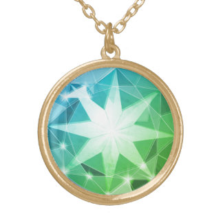 Blue Green Gemstone Compass Rhinestone Look Gold Plated Necklace
