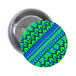 Blue Green Geo Abstract Aztec Tribal Print Pattern Button