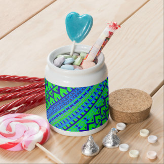 Blue Green Geo Abstract Aztec Tribal Print Pattern Candy Jars