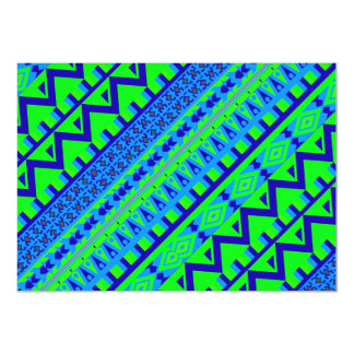 Blue Green Geo Abstract Aztec Tribal Print Pattern Card